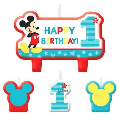 Mickey Fun to be One 4 Pc Candles Set Cake Topper 1st Birthday Party