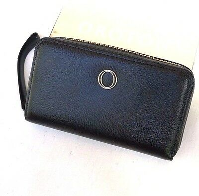 RRP$295 New OROTON Metier Large Multi Zip Around Wallet Clutch Black Leather PT