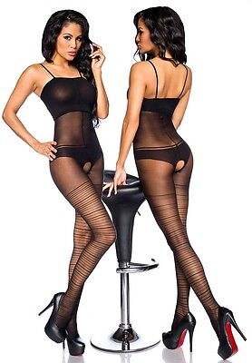 Sexy Träger Catsuit Body Stocking Netzbody Bodystocking Lingerie-Look Overall