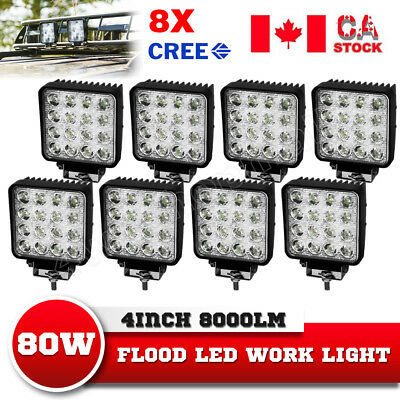 8x4inch 80W LED Squre Work Light Bar Flood Driving Lamp ATV Truck vs 18w/36w