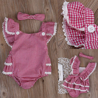 Toddler Newborn Baby Girls Check Romper Bodysuit Jumpsuit Outfit Sunsuit Clothes