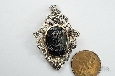 ANTIQUE 18K GOLD & SILVER DIAMOND CARVED SAPPHIRE KING of SIAM ? CAMEO PENDANT