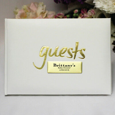White & Gold Baby Shower Guest Book - Add a Name & Message