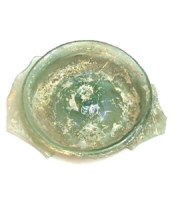 Roman Glass Fragment 200 B.C Round Ancient Archaeological Bluish Color