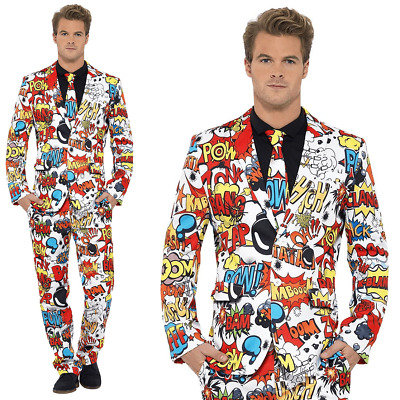 Mens Stand Out Suit Comic Strip Cartoon Stag Do Party Comedy Fancy Dress Costume