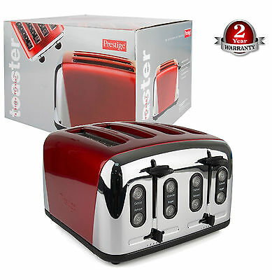 Prestige ECO Auto Traditional 4Slice Adjustable Slot S/ Steel 1800W Toaster Red