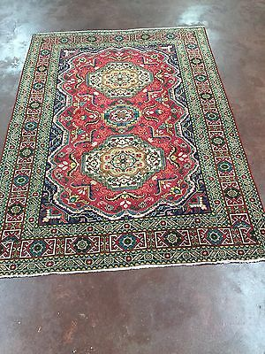 """Semi Antique Great Deal Hand Knotted Persian-Tabriz Rug Geometric5x7,4'6""""x6'4''"""