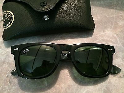New Authentic Original Black Wayfarer Ray Ban Sunglasses RB2140 50mm Green Lens