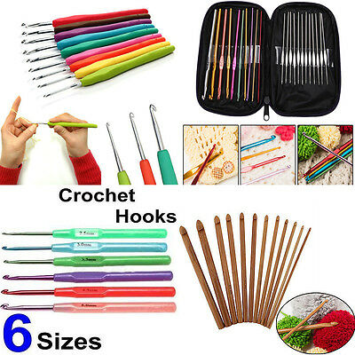 Plastic Handle Bamboo Aluminum Crochet Hooks Knitting Needles Weave Craft Tools