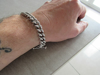 Heavy quality vintage sterling silver diamond T bar bracelet unisex