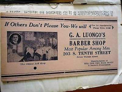 """Advertising """"G.A. Luongo's Barber Shop"""" Possibly Ink Blotter  Philadelphia, Pa."""