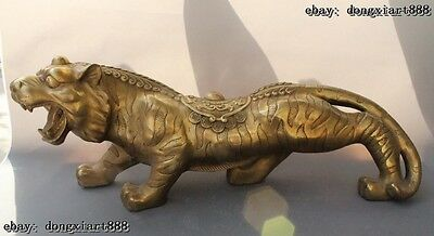 "26""Chinese fengshui brass wealth money coin Ferocious zodiac tiger Beast statue"
