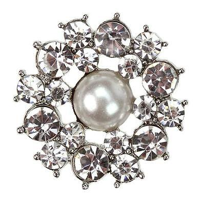 FLORENCE Pair Diamante Silver Shoe Clips Pearl Crystal Flower Bridal Rhinestone