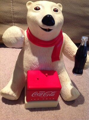 COCA-COLA Bubble Blowing Polar Bear With Ice Chest Ornament
