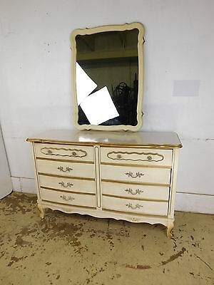 Vintage Dixie Style French Decorated Bedroom Dresser Mirror Chest Nightstand