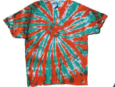 WHOLESALE LOT 25 Size Large Hand-dyed ORANGE & GREEN & WHITE TIE-DYE T-SHIRTS