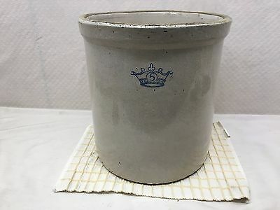 Antique Blue Crown 5 Gallon Stoneware Crock