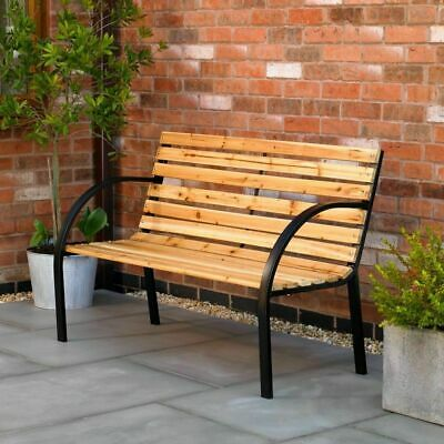 Norwegian Style Garden Bench Outdoor Seat Patio Wood Furniture Metal Frame Wido