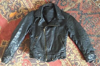 Vintage 1950s Motorcycle Jacket Horsehide Leather Knit Cuffs Corduroy Collar VTG