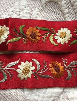 Antique Hand Embroidered Daisy French Silk Red Ribbon Ribbonwork Floral Vintage