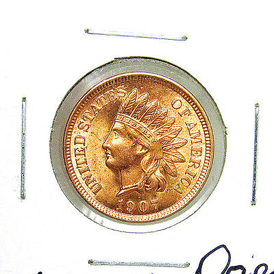 1907 Indian Head Cent - Red Gem BU / MS RD / Unc - Luster