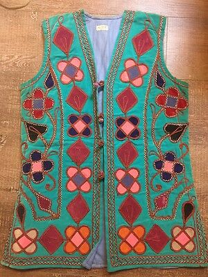 Vintage Womens Long Embroidered Vest Textile Boho Pakistan