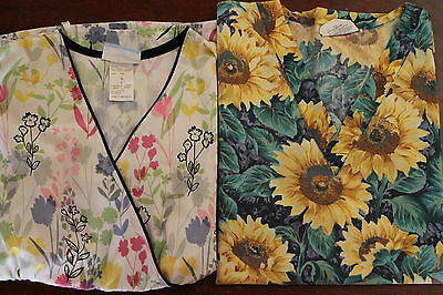 ****REDUCED****  FLORAL SCRUB TOP LOT- Size Large