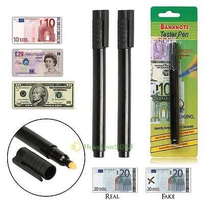 2X Smart Money Counterfeit Detector Tester Marker Pen Use On Fake Bills Checker