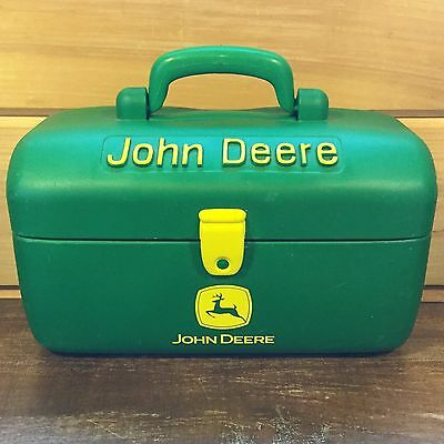 JOHN DEERE Toy TOOL BOX Green~Yellow Logo Soft Plastic Child's Tractor Fun ERTL