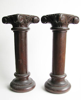 "Salvaged Pair 12"" Vintage Antique Oak Columns Ionic Capital Turned Wood Wooden"
