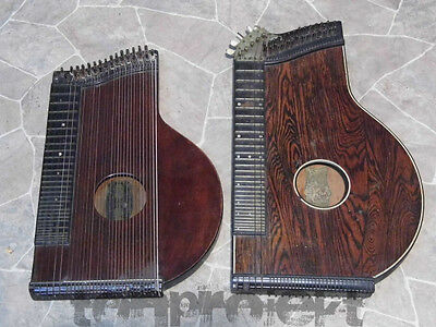 2x antique Zither Concert Zither JOSEF THUMHART + P. Ed. HALL Germany 19Jhd