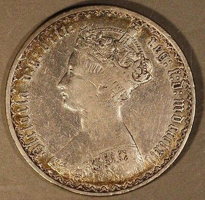 1864 Great Britain Gothic Florin Circulated          ** Free U.S. Shipping **