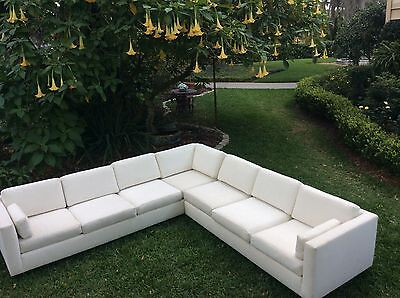 Vtg Monumental Classic 70's 2pc Sectional Sofa Mid Century Modern
