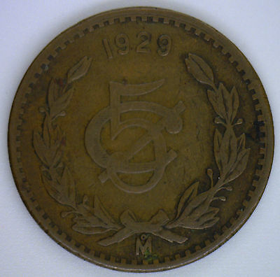 1929 M Bronze Mexico 5 Centavos Mexican Currency Coin VF
