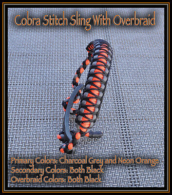 Custom Bow Wrist Sling Cobra Stitch with Overbraid Black Neon Orange and Grey