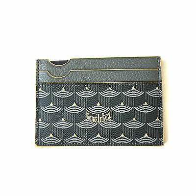NWT Faure Le Page Men's Steel Gray Yellow 4CC Card Holder Case Wallet AUTHENTIC