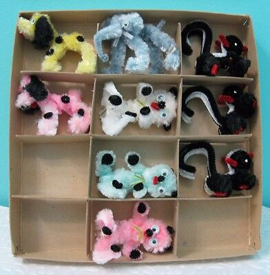 9 Vtg Chenille Pipe Cleaner Animals In Original Box Made In Japan Skunk Elephant