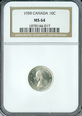 1959 Canada 10 Cents Ngc Ms-64  ,