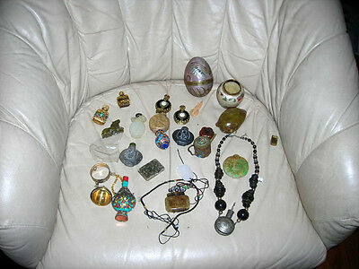 Lot Of 24 Vintage/antique Chinese Snuff Bottles, Assorted Jewelry Etc.