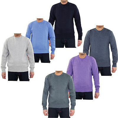 New Mens Fleece Lined Knit Sweatshirt Melange Round Neck Pullover Ribbed Jumper