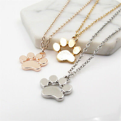 Women Fashion Cute Pets Dogs Footprints Paw Chain Pendant Necklace Jewerly