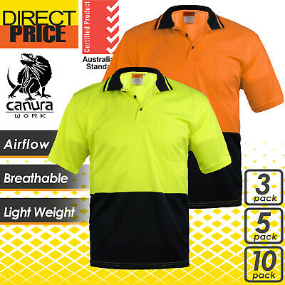 3 5 10x Hi Vis Polo Shirt Short Sleeve Workwear Safety Cool Dry Air Vents Hitech