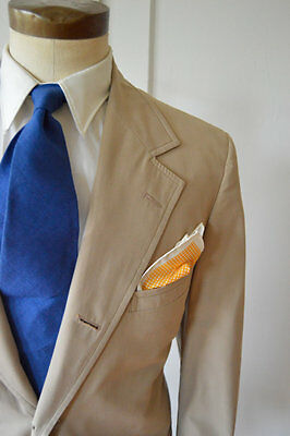 Vintage 1960s/1970s Tan Summer Suit by Brooks Brothers Size 44 Jacket 40x28 Pant