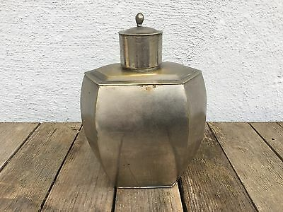 Antique Chinese Silver White metal Over Brass tea caddy early 20thc