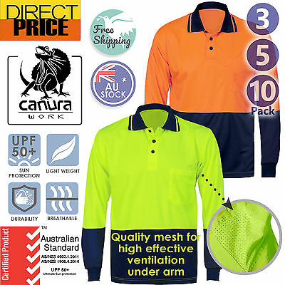 3 5 10x Hi Vis Polo Shirt Long Sleeve Workwear Safety Cool Dry Air Vents UPF50+