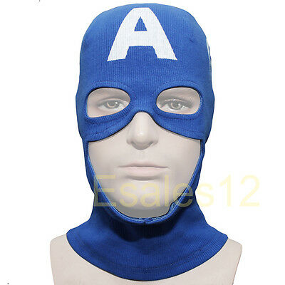 Marvel Captain America Rogers Mask Balaclava Hood Super Hero Cosplay Halloween