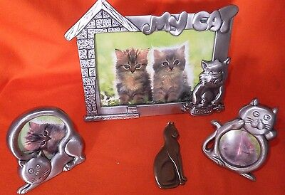 Cat Items Picture Frame + 2 Small Frames & Sitting Cat Sweater Brooch Cat Lovers