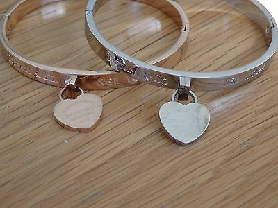 fashion   heart tag bracelet bangle stainless plated white or rose gold