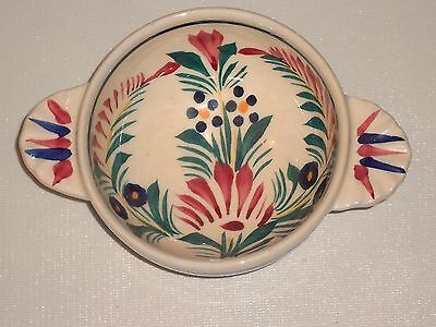 Quimper Pottery Bowl with Handles Floral Design Signed