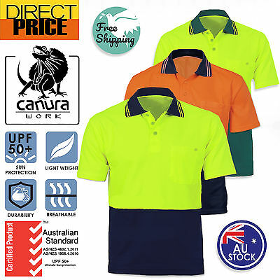 Hi Vis Polo Shirt Short Sleeve Work wear Safety Contrast Cool Dry Air vent UPF50